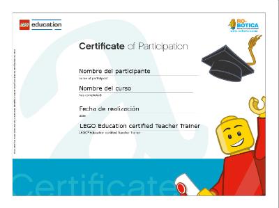 Modelo de certificado de participación LEGO Education Academy